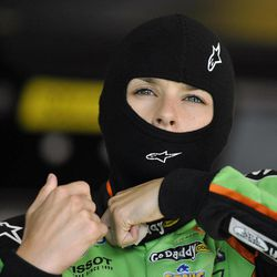 Danica Patrick gets ready to practice for the NASCAR Nationwide Series auto race at Atlanta Motor Speedway, Saturday, Sept. 1, 2012, in Hampton, Ga.