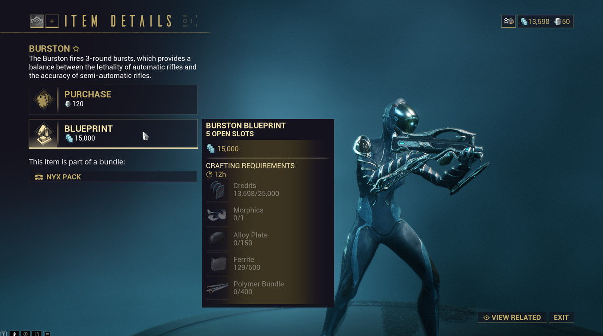 Warframe - a shot of the item details screen