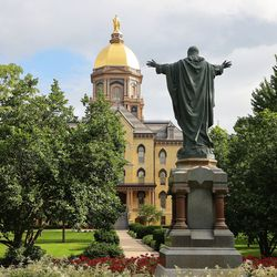 The Notre Dame Golden Dome at the University of Notre Dame in South Bend, Ind., on Monday, June 28, 2021.