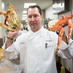 Chef and Carnivale Du Vin Culinary Director, Chris Wilson, shows off humongous Alaskan King crab claws, fresh off the boat and headed for a corn soup.