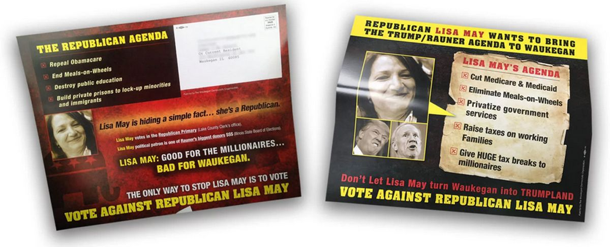 During Waukegan's 2017 mayoral race, political mailers portrayed Lisa May, an independent, as a Republican.