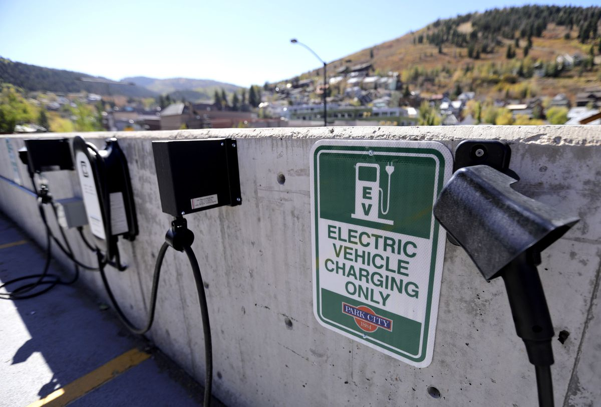 Electric vehicle charging stations are pictured in the South Marsac lot, next to City Hall, in Park City on Tuesday, Sept. 29, 2020.