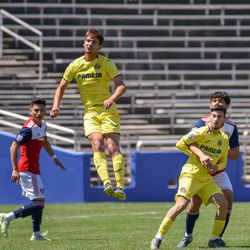 Villareal heading the ball during the opening match of the 40th Annual Dallas Cup.
