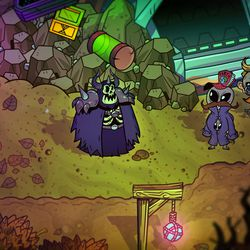"""The Crashed UFO's exterior. Note the poorly disguised, quest-giving aliens outside. This dungeon isn't gated by a Star count, but the """"legendary"""" ones are in <em>Nobody Saves the World</em>."""