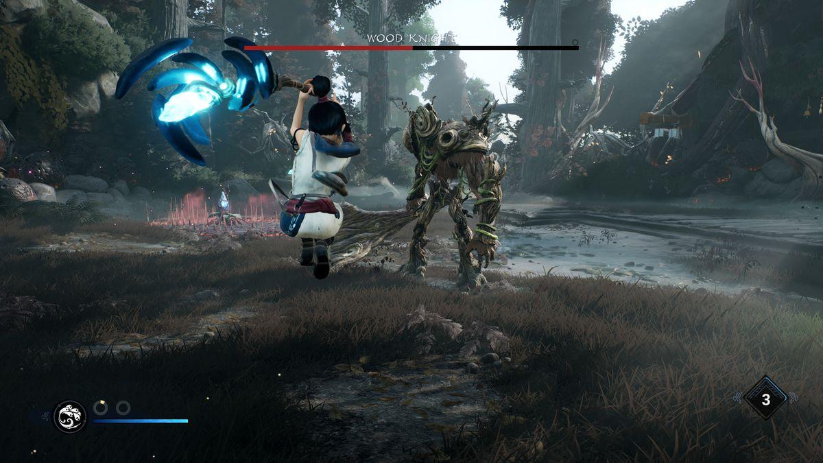 Kena fights Wood Knight's mini boss