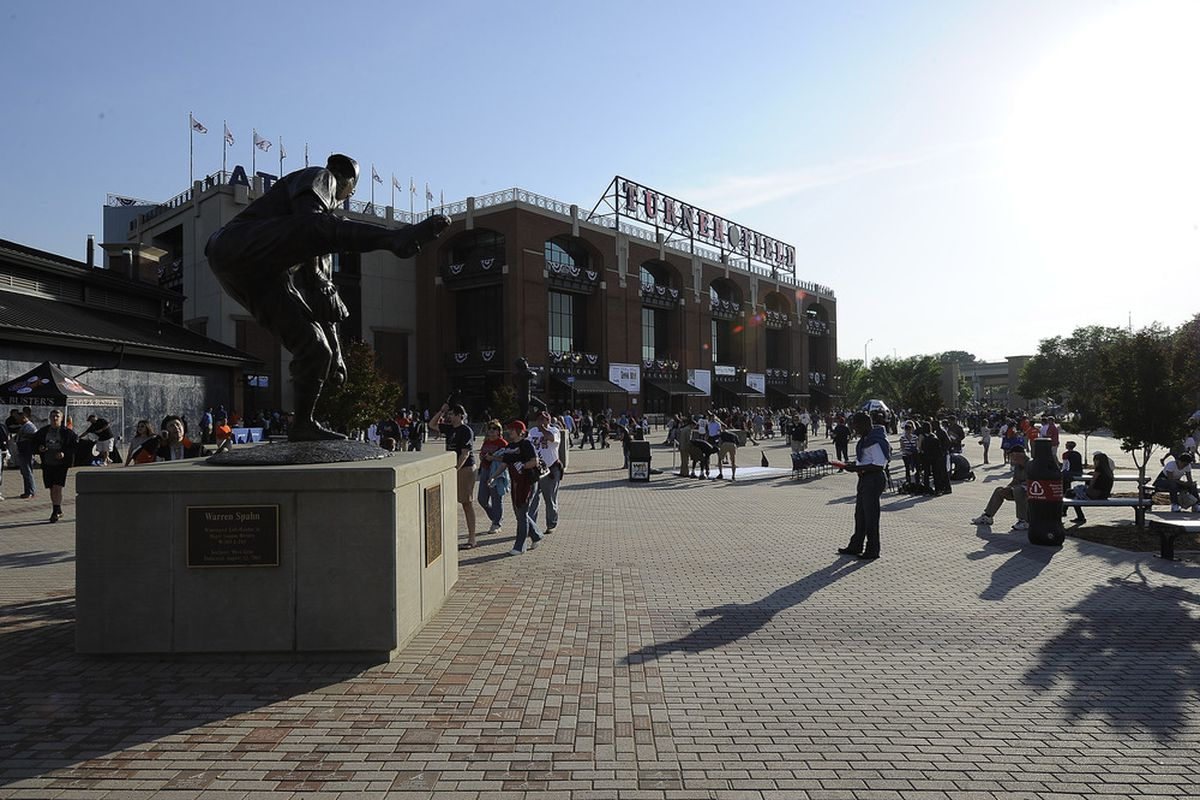Apr 13, 2012; Atlanta, GA, USA; Fans enter the plaza at Turner Field prior to the Milwaukee Brewers game agains the Atlanta Braves. The Braves won 10-8. Mandatory Credit: Paul Abell-US PRESSWIRE