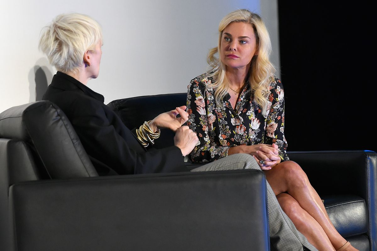 Hearst Magazines' Joanna Coles interviews Amazon Fashion President Christine Beauchamp onstage at the American Magazine Media Conference 2018.