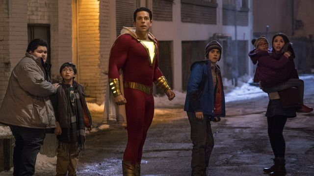 Jovan Armand as Pedro Pena, Ian Chen as Eugene Choi, Zachary Levi as Shazam, Jack Dylan Grazer as Freddy Freeman, Faithe Herman as Darla Dudley and Grace Fulton as Mary Bromfield in <em>Shazam!</em>.