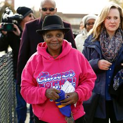 Mayor Lori Lightfoot arrives at the game between Simeon and Lakes.