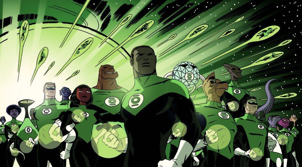 John Stewart at the fore of the Green Lantern Corps. from a DC Comics variant cover.