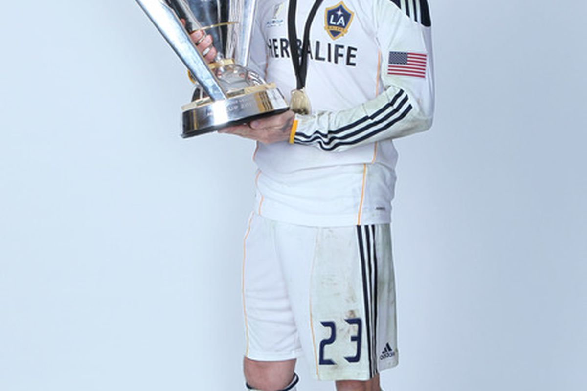 CARSON, CA - NOVEMBER 20:  David Beckham #23 of the Los Angeles Galaxy poses for a portrait following the 2011 MLS Cup at The Home Depot Center on November 20, 2011 in Carson, California.  (Photo by Jeff Gross/Getty Images)