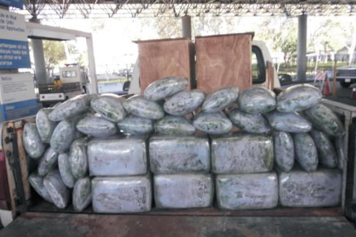 This Sept. 7, 2010, photo provided by the U.S. Immigration and Customs Enforcement shows more than 110 kg of marijuana seized from a vehicle that attempted to enter the U.S. near San Diego. The driver of this vehicle had stated he responded to a newspaper