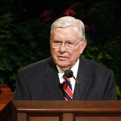 Elder M. Russell Ballard speaks during the 182nd Annual General Conference for The Church of Jesus Christ of Latter-day Saints in Salt Lake City  Sunday, April 1, 2012.