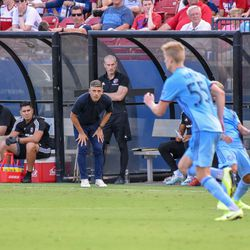 Luchi Gonzalez watches as New York City FC move the ball into FC Dallas territory.