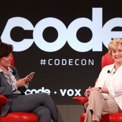 """Kara Swisher on stage with Linda MacMahon, President Donald Trump's leader for the Small Business Administration. Who <a href=""""https://www.recode.net/2018/5/29/17381092/linda-mcmahon-donald-trump-president-tech-business-administration"""">emphasized the importance</a> of the US leading the way in tech."""