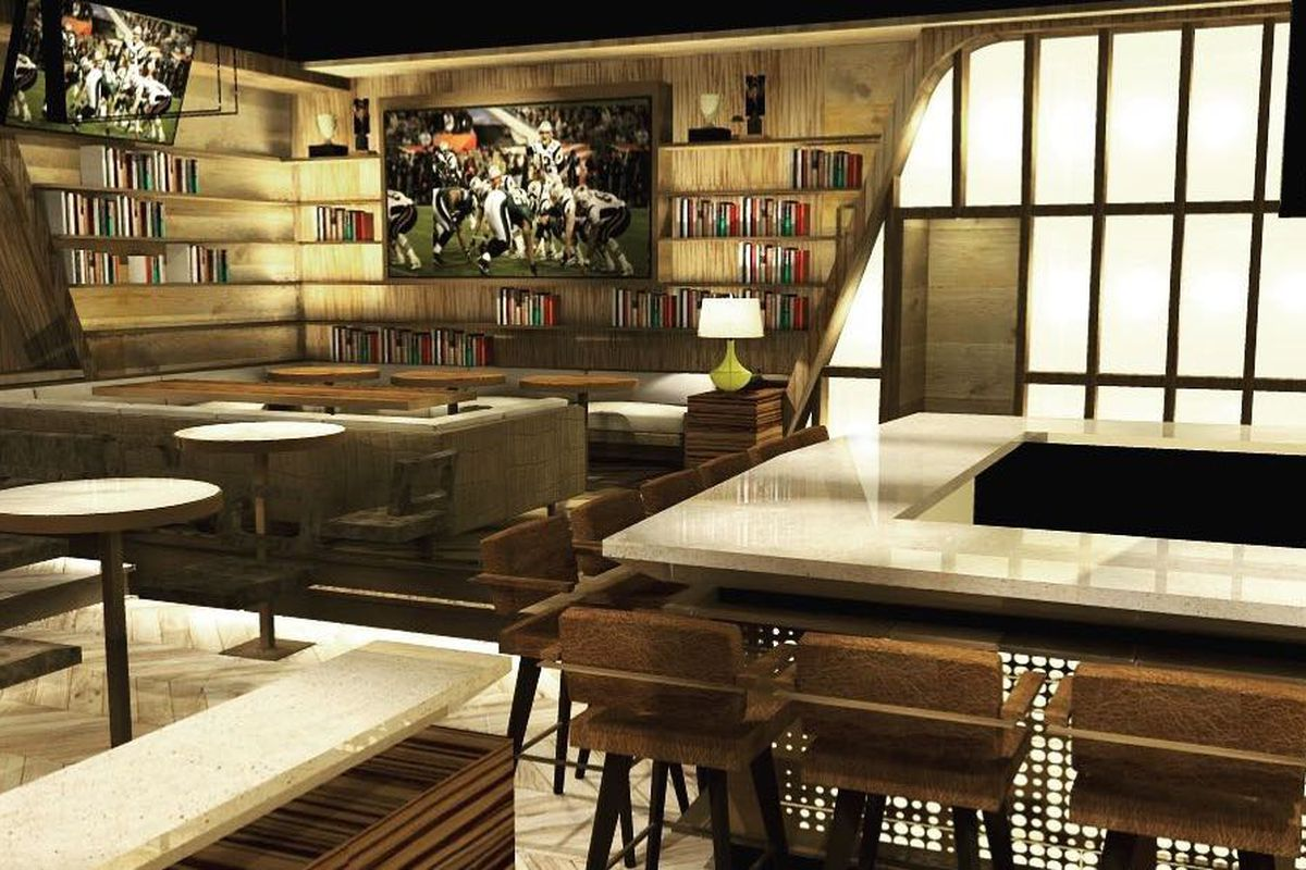 A rendering for an upscale sports bar with marble and dark woods.