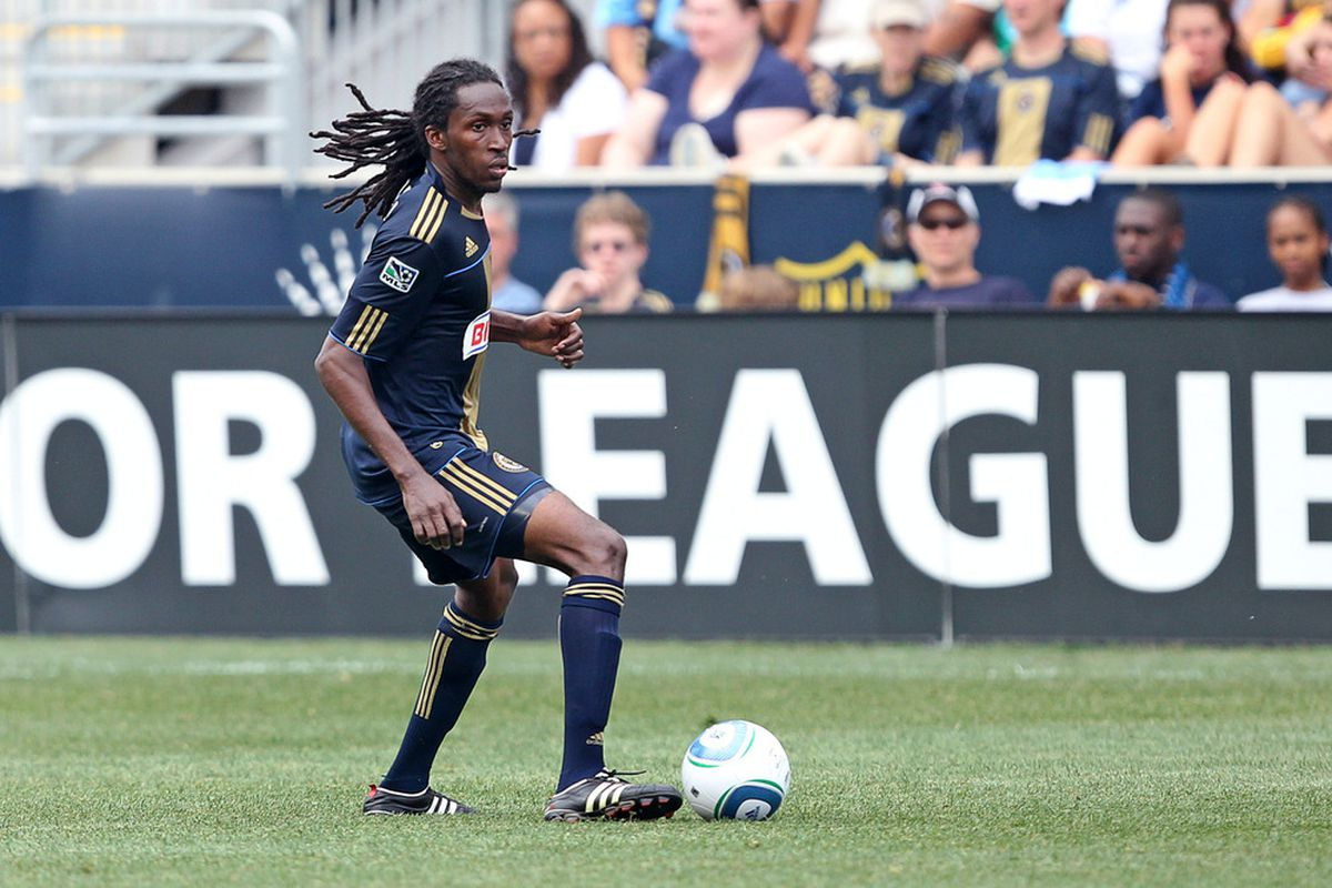 CHESTER, PA - JUNE 11: Midfielder Keon Daniel #17 of the Philadelphia Union in action during a game against Real Salt Lake at PPL Park on June 11, 2011 in Chester, Pennsylvania. The game ended 1-1. (Photo by Hunter Martin/Getty Images)