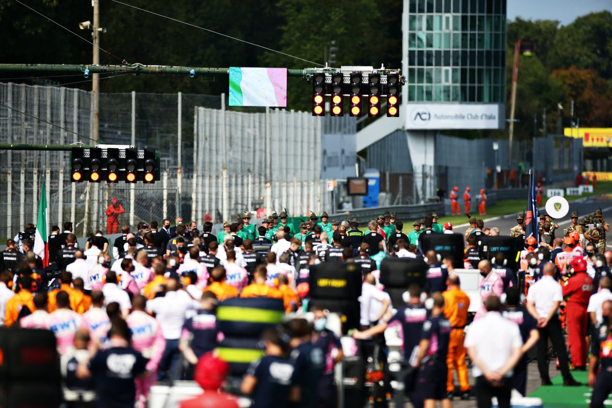 A general view of the grid before the F1 Grand Prix of Italy at Autodromo di Monza on September 06, 2020 in Monza, Italy.