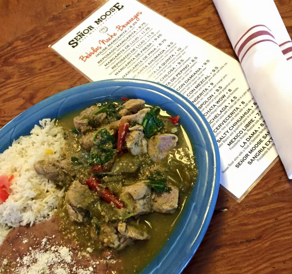 """A top-down view of a dish and menu on a table at Se<span data-author=""""-1"""">ñor</span> Moose Cafe"""