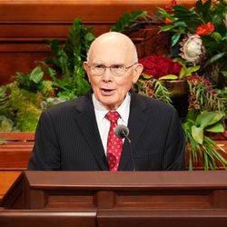 President Dallin H. Oaks, first counselor in the First Presidency of The Church of Jesus Christ of Latter-day Saints, conducts the Sunday afternoon session of the 191st Semiannual General Conference, broadcast from the Conference Center in Salt Lake City on Sunday, Oct. 3, 2021.