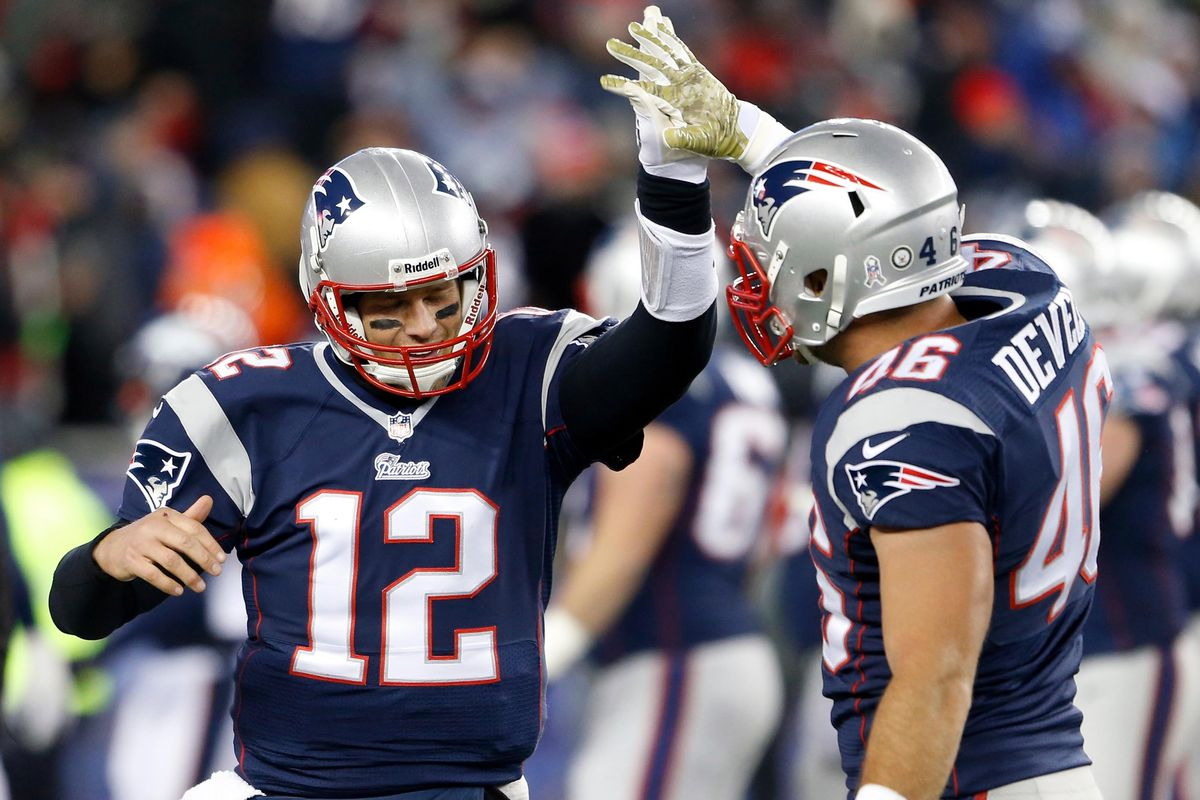 James Develin proves he's Brady's man, giving quality high-five support every game