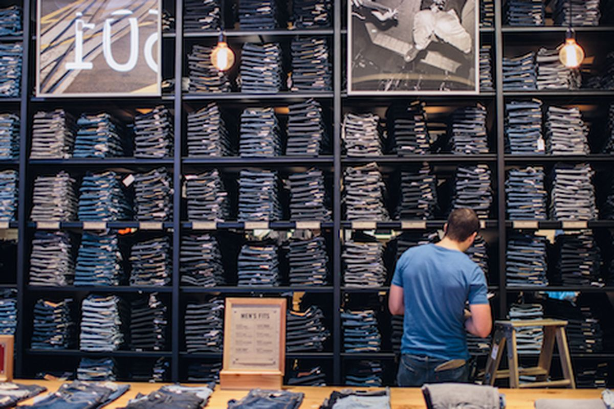 """Under the proposed minimum wage increase, workers would be paid $15 an hour to man the denim wall at the Levi's store in 2018. Image via <a href=""""http://www.levistrauss.com/unzipped-blog/2014/01/musical-trio-behind-levis-store-soundtrack/"""">LeviStrau"""
