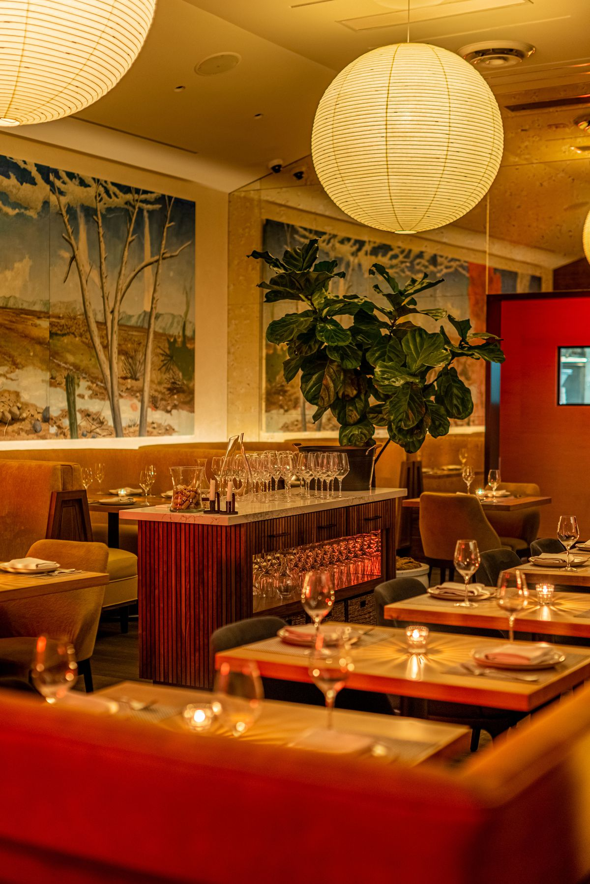 Colorful wallpaper showing a woodsy scene with bulbous lights overhead in a new restaurant, at night.