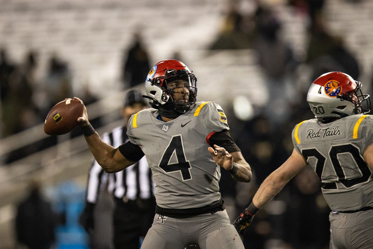 Haaziq Daniels of the Air Force Falcons throws a pass during the third quarter of a game against the Army Black Knights at Michie Stadium on December 19, 2020 in West Point, New York.