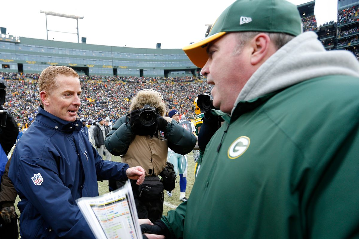 Head coach Jason Garrett of the Dallas Cowboys congratulates head coach Mike McCarthy of the Green Bay Packers after the 2015 NFC Divisional Playoff game at Lambeau Field on January 11, 2015 in Green Bay, Wisconsin.