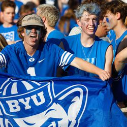 Fans gather ahead of an NCAA college football game between BYU and Utah at LaVell Edwards Stadium in Provoon Saturday, Sept. 11, 2021.