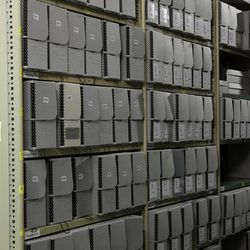 The Church History Library preserves and catalogues thousands of historical items, many of which are housed in a vault aisle in the library.