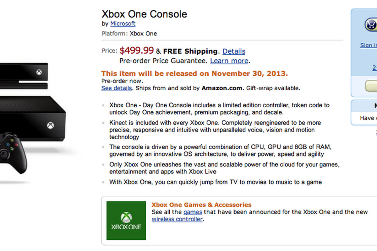 Xbox One now available for pre-order on Amazon (update