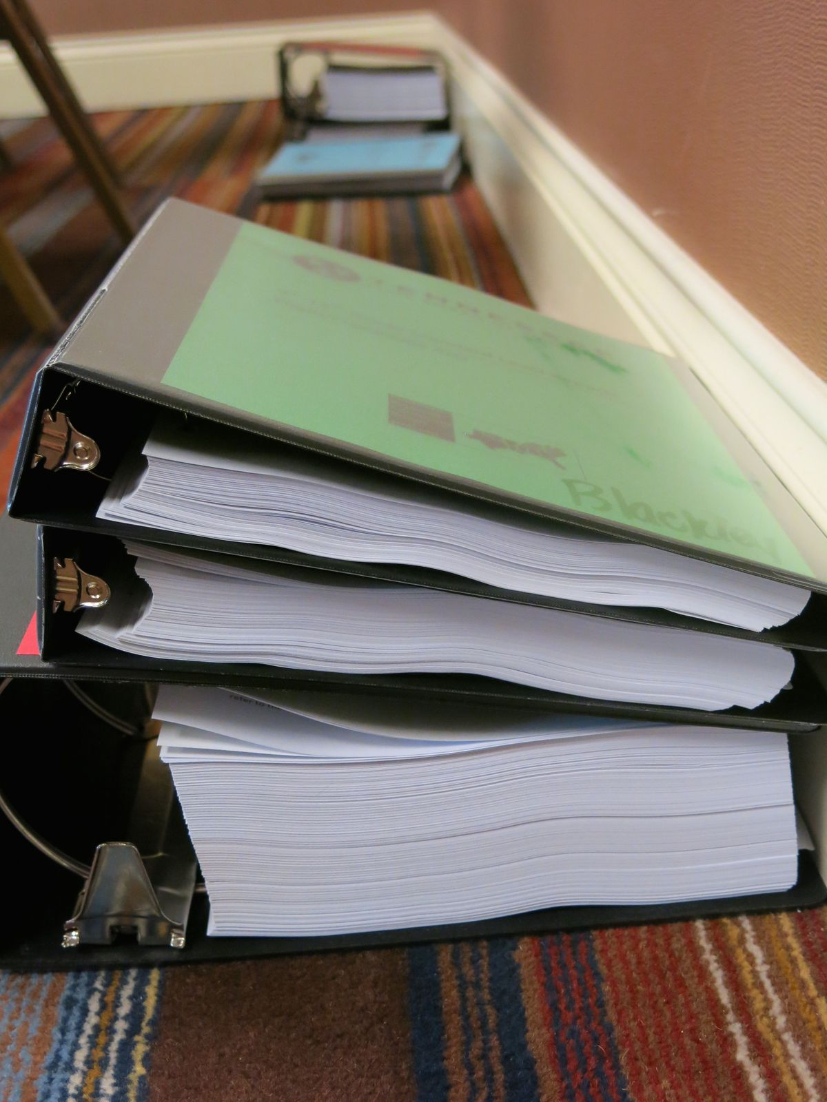 Large notebooks filled with public review data and feedback awaited each member of the standards review committee.
