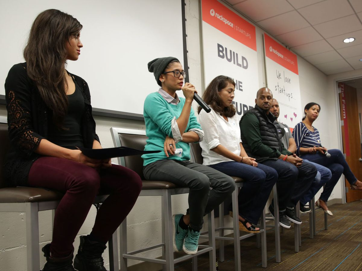 The #ILookLikeAnEngineer panelists speak to a sold out crowd.