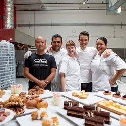From left: operations manager Steve Chang, prep chef Hugo Peralta, sous chef Melissa Davidson, Yigit Pura, prep chef Dionicia Ortega