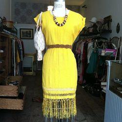 "<a href=""http://instagram.com/p/aL8p4jpqaf/"">@antoinette_vintage</a>: ""Putting this in the window! #vintage Silk shantung bohemian dress $70 size S, Belt $20, Bag $48, Wooden necklace $45"""