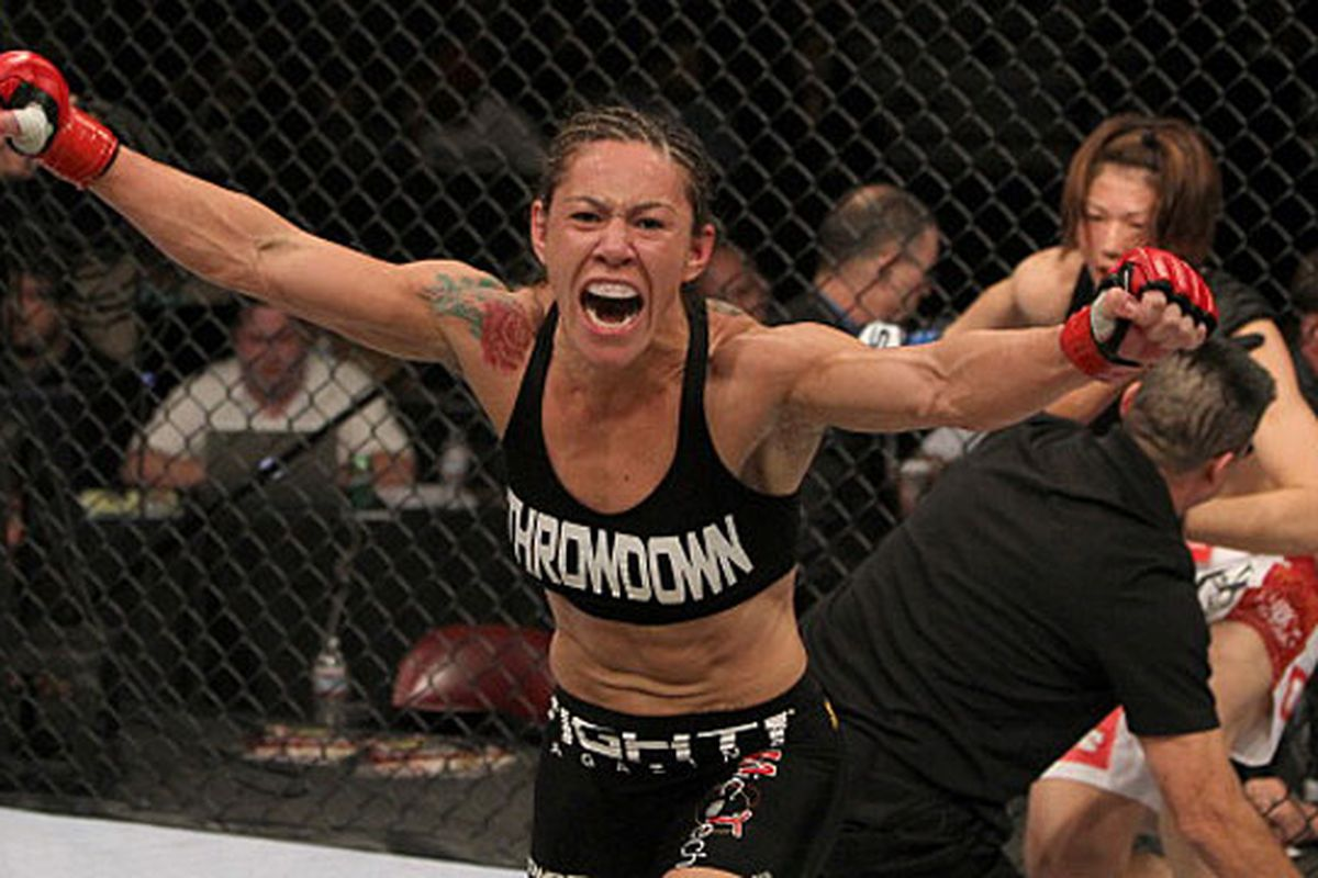 """Cristiane Santos celebrates her win over Hiroko Yamanaka at Strikeforce: """"Melendez vs. Masvidal"""" on Dec. 16 in San Diego, California. She tested positive for anabolic steroids after the bout and it has since been changed to a no contest."""