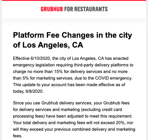 Grubhub notice citing delivery fee change in Los Angeles