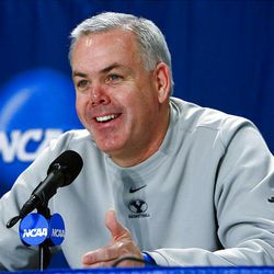 BYU's coach Dave Rose talks to the media at a press conference Wednesday prior to the Cougars' practice for their first round NCAA game against Florida on Thursday.