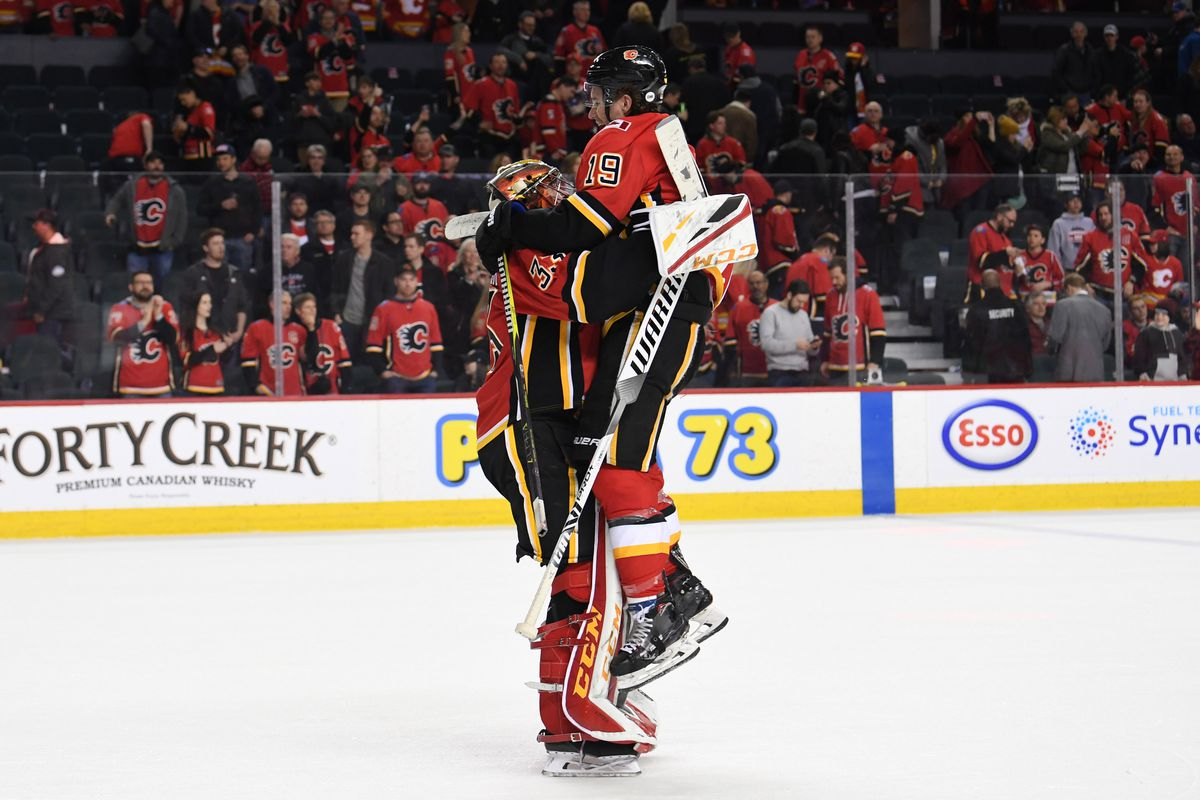 Mar 10, 2019; Calgary, Alberta, CAN; Calgary Flames goalie David Rittich (33) and left wing Matthew Tkachuk (19) celebrate the win over the Las Vegas Golden Knights at Scotiabank Saddledome. Flames won 6-3.