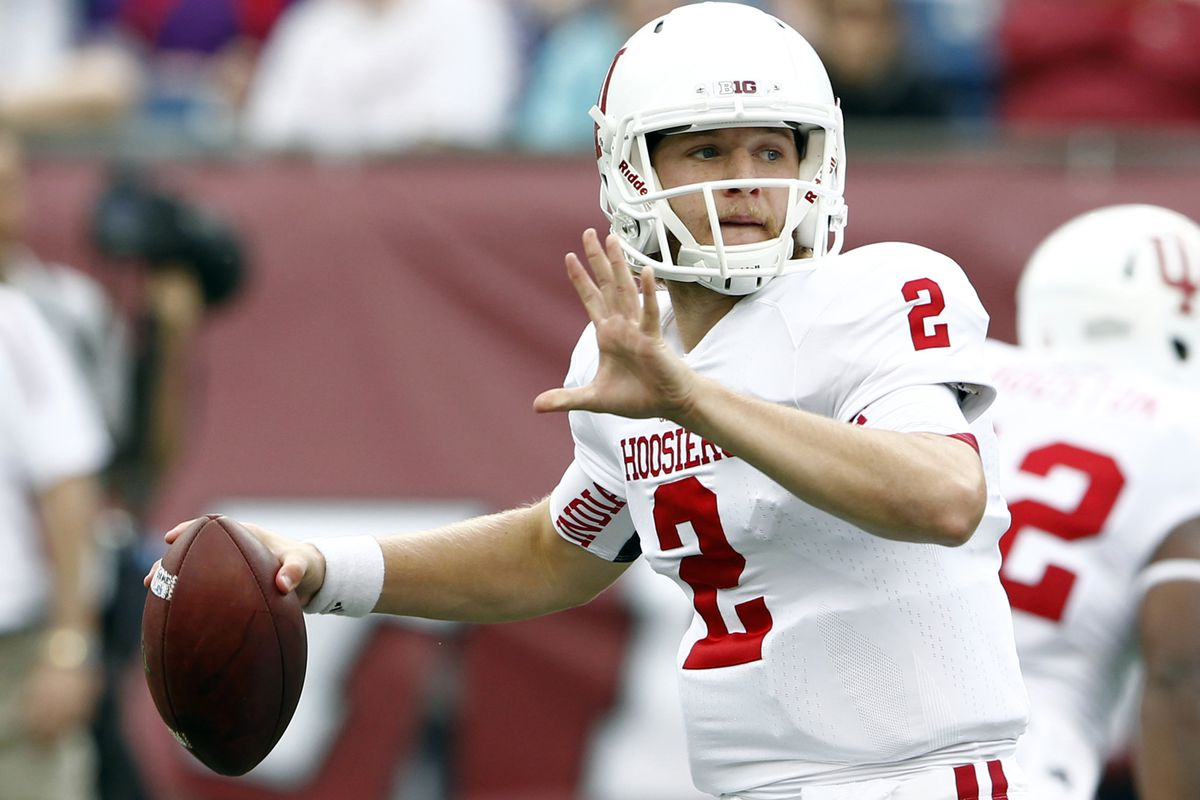 Sep 8, 2012; Foxborough, MA, USA; Indiana Hoosiers quarterback Cameron Coffman (2) passes the ball against the Massachusetts Minutemen during the first half at Gillette Stadium.  Mandatory Credit: Mark L. Baer-US PRESSWIRE