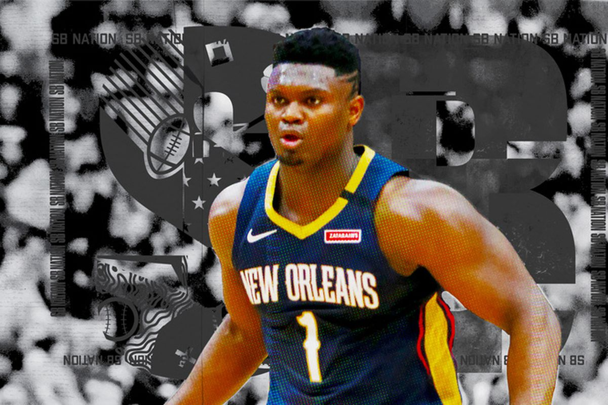 Zion Williamson on the court for the Pelicans.