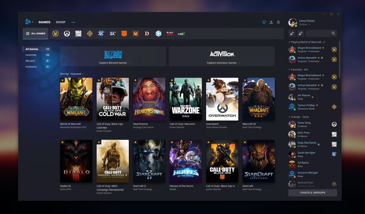 Battle.net - The new Activision-Blizzard games launcher shows all of the Blizzard and Activision games one player owns.
