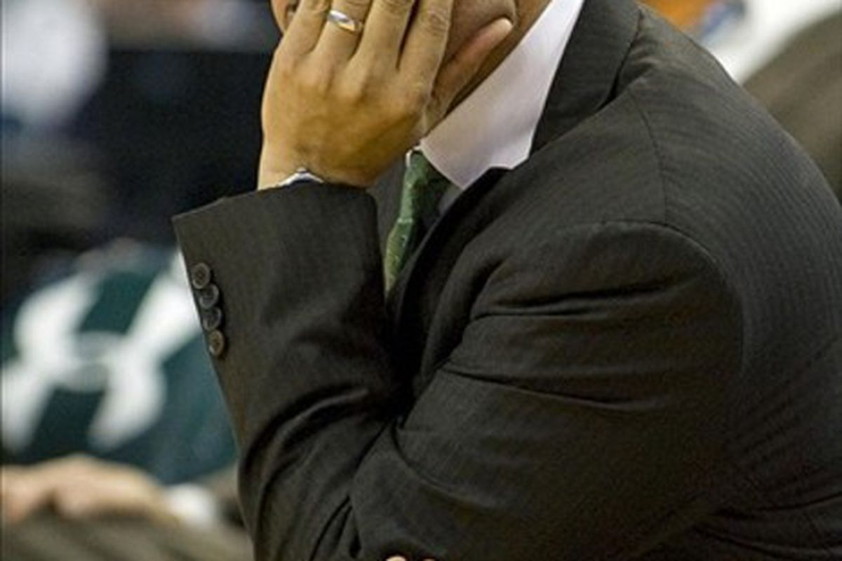 March 3, 2012; Tampa, FL, USA; South Florida Bulls head coach Stan Heath against the West Virginia Mountaineers at the Tampa Bay Times Forum.  Mandatory Credit: Jeff Griffith-US PRESSWIRE