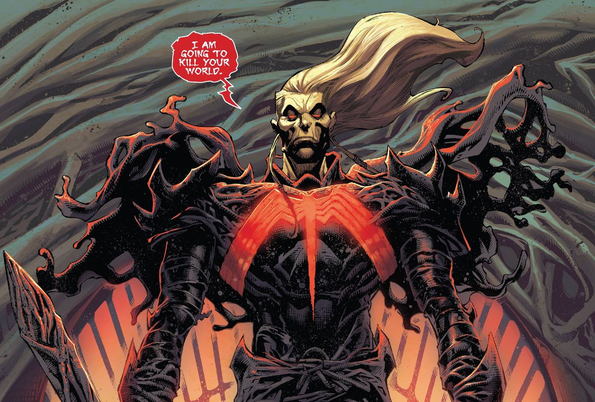 """""""I am going to kill your world,"""" says the symbiote god Knull, in King in Black #1, Marvel Comics (2020)."""