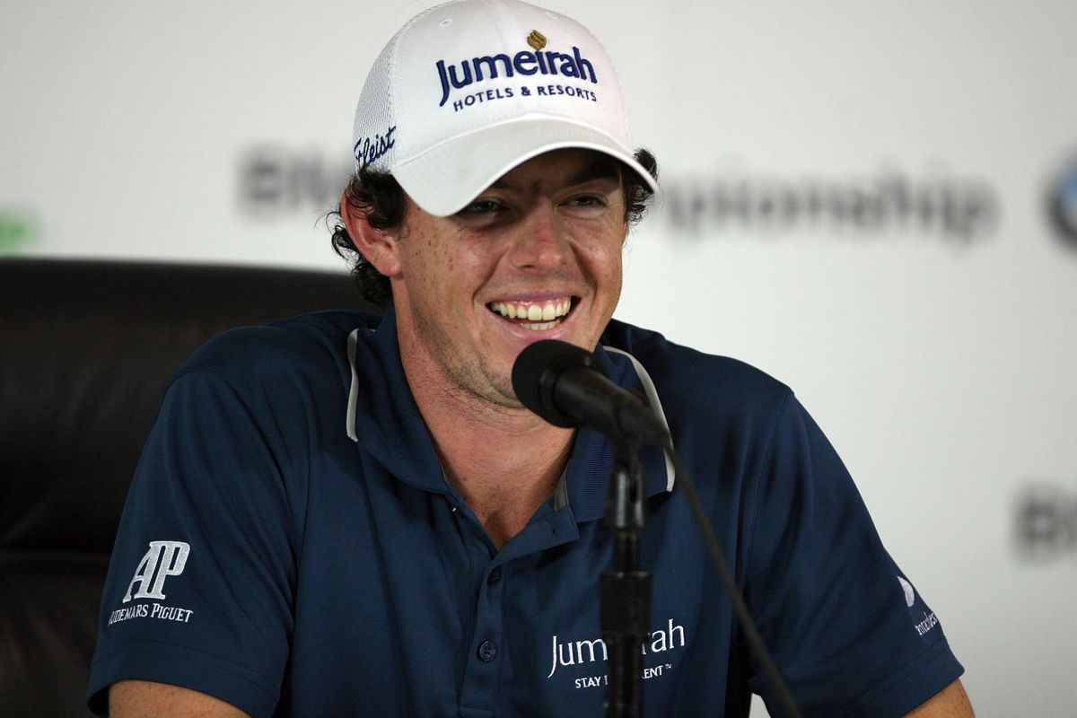 Sep 5, 2012; Carmel, IN, USA; Rory McIlroy talks to the media during a press conference during the Pro-Am before the BMW Championship at Crooked Stick Golf Club. Mandatory Credit: Brian Spurlock-US PRESSWIRE