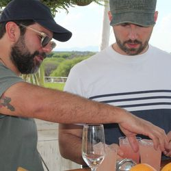 Enrique Olvera and Jim Meehan demo a cocktail.