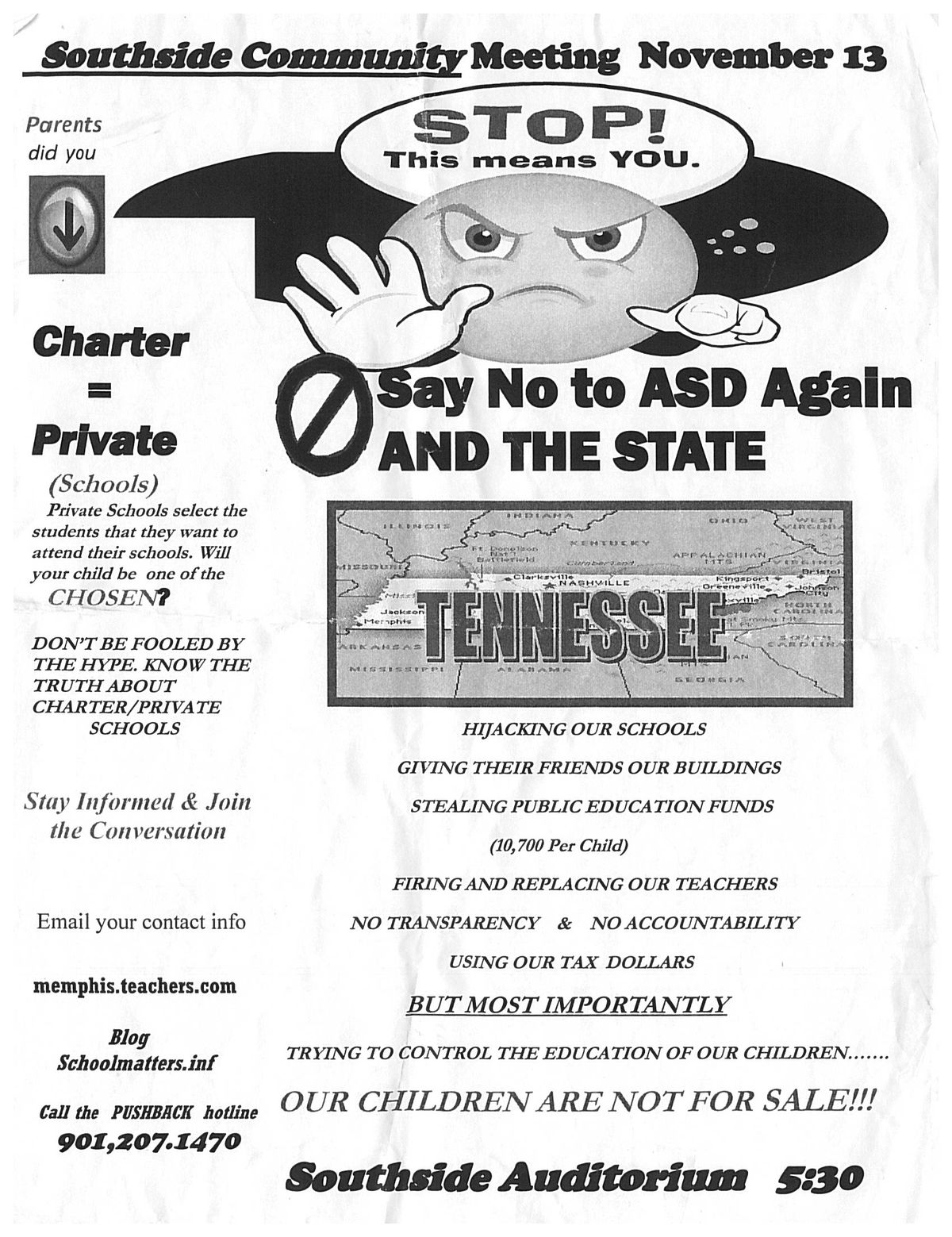 This flyer was placed under attendees' cars at a school fair this past weekend.