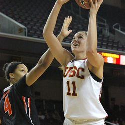 Cassie Harberts puts in a bucket with her left.