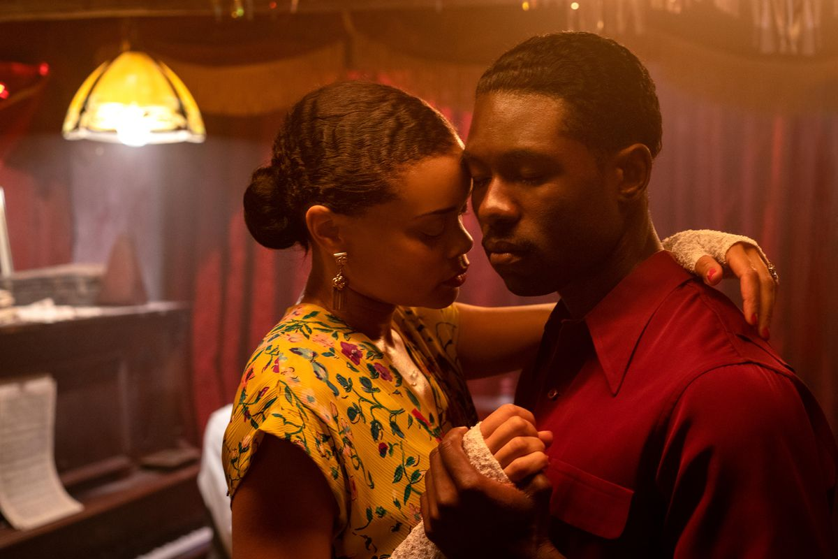 Andra Day and Trevante Rhodes slow-dance with their heads together in The United States vs. Billie Holiday